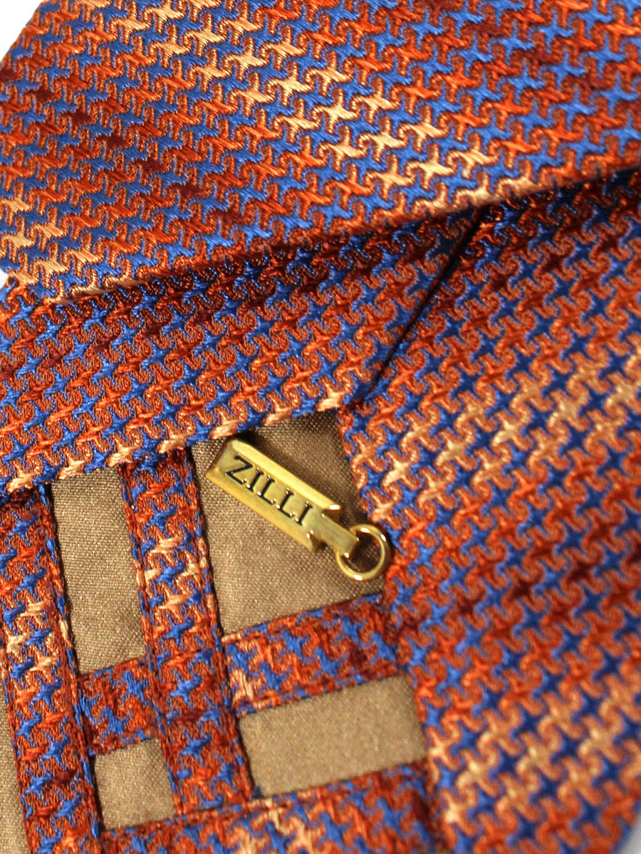 Zilli Tie Midnight Blue Copper Houndstooth - Wide Necktie