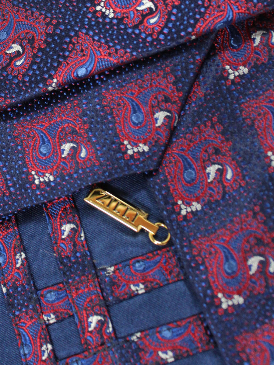 Zilli Tie Dark Blue Red Check Paisley - Wide Necktie