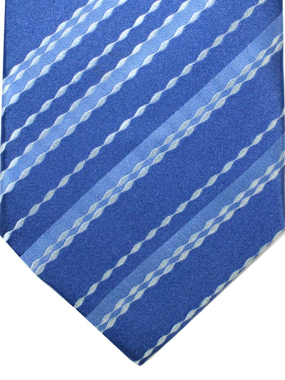 Zilli Tie Dark Blue Silver Stripes Pattern - Wide Necktie