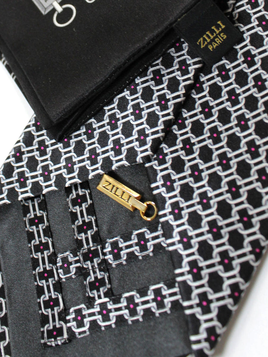 Zilli Silk Tie & Pocket Square Set Black Gray Pink Geometric