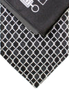 Zilli Silk Tie & Pocket Square Set Black Silver Geometric