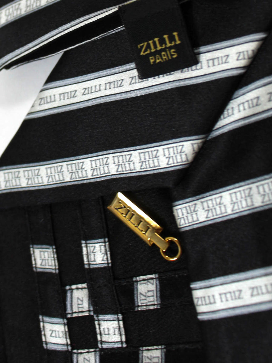 Zilli Silk Tie & Pocket Square Set Black Silver Stripes