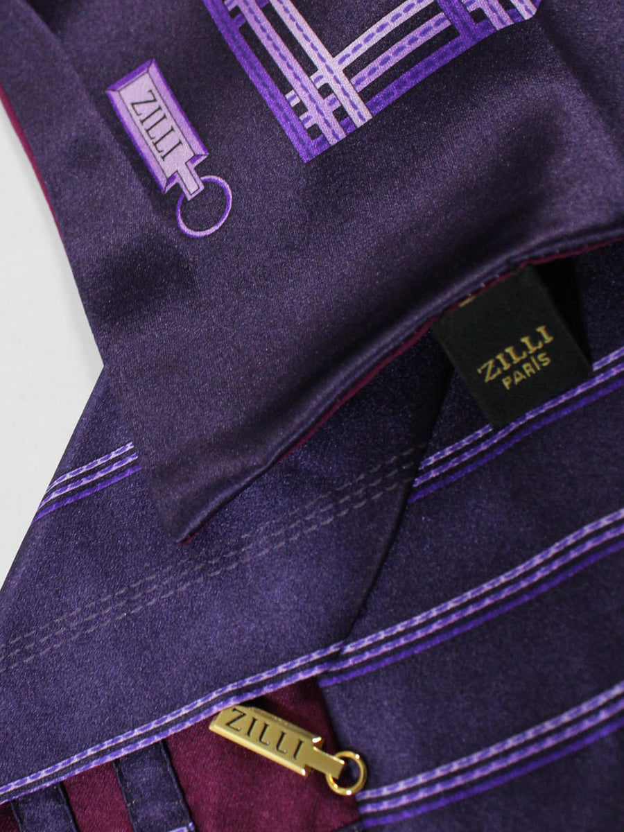 Zilli Extra Long Tie & Pocket Square Set Purple Stripes