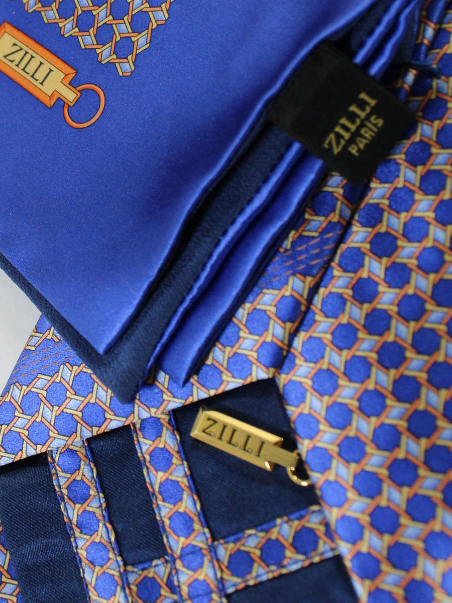 Zilli Extra Long Tie & Pocket Square Set Purple Orange Gold Geometric