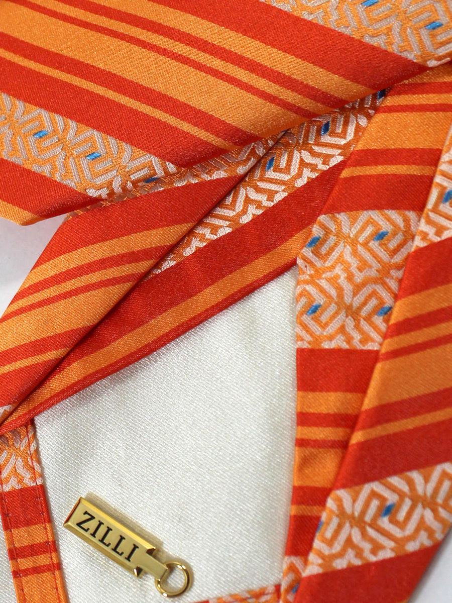 Zilli Sevenfold Tie Orange Stripes FINAL SALE