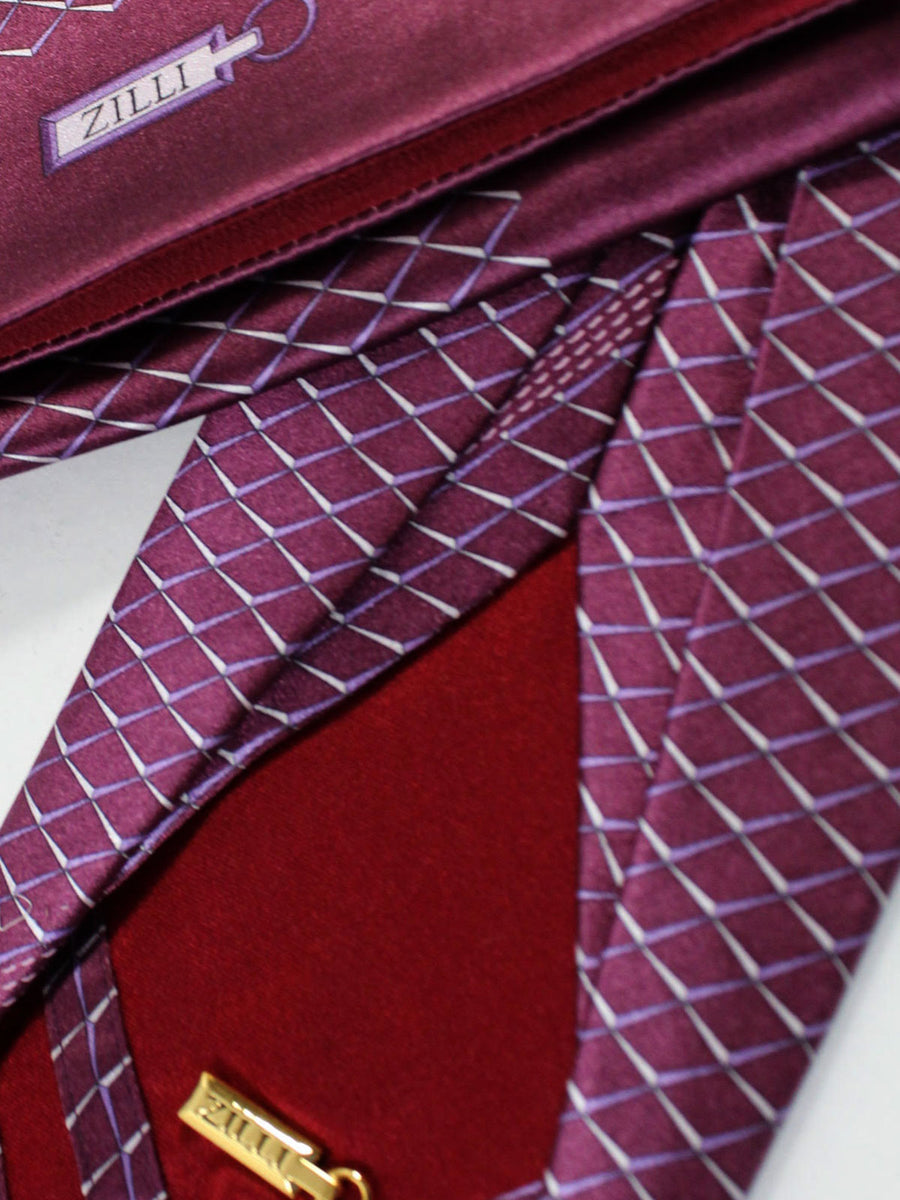 Zilli Sevenfold Tie & Pocket Square Set Wine Purple Geometric Design