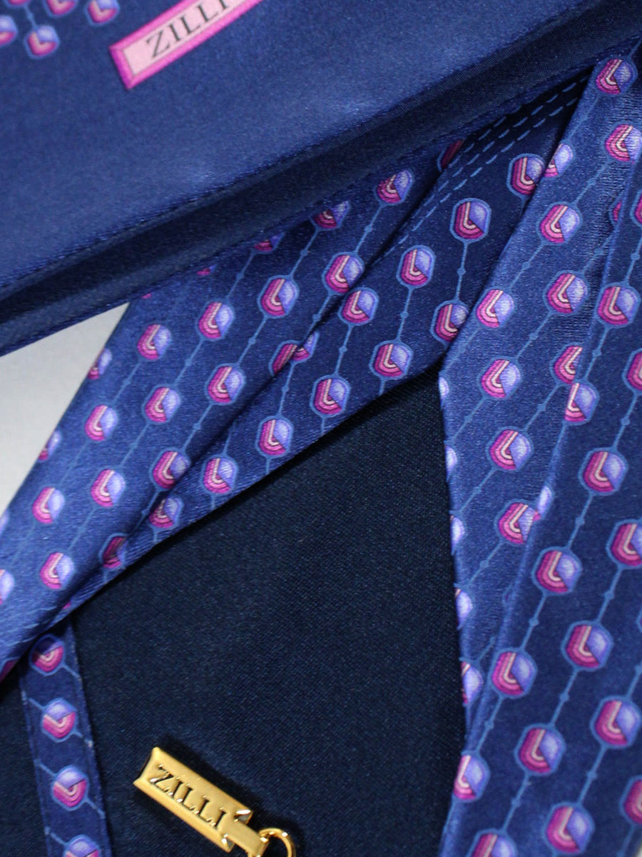Zilli Sevenfold Tie & Pocket Square Set Navy Lilac Pink Geometric Design