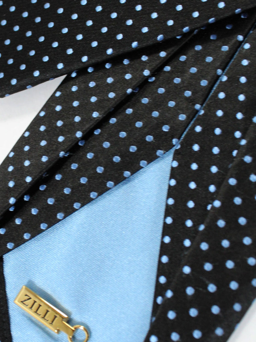 Zilli Sevenfold Tie Black Sky Blue Dots