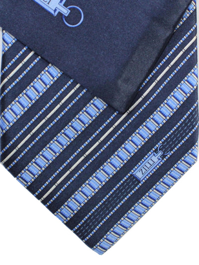 Zilli Silk Tie & Pocket Square Set Gray Blue Stripes