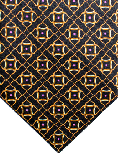 Zilli Silk Tie Black Cream Pink Geometric - Wide Necktie