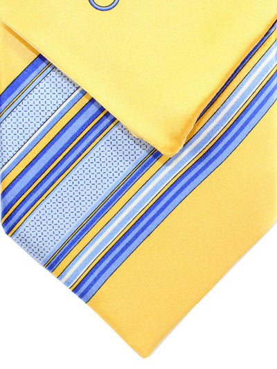 Zilli Silk Tie & Pocket Square Set Yellow Blue Stripes
