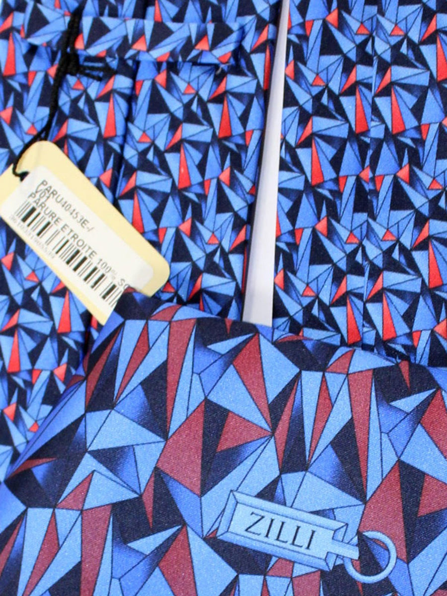 Zilli Silk Tie & Pocket Square Set Royal Blue Red Geometric