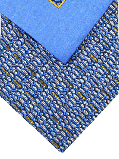 Zilli Silk Tie & Pocket Square Set Dark Blue Geometric