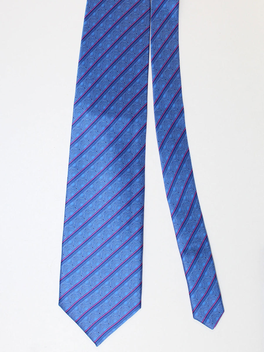 Zilli Silk Tie & Pocket Square Set Royal Stripes Geometric