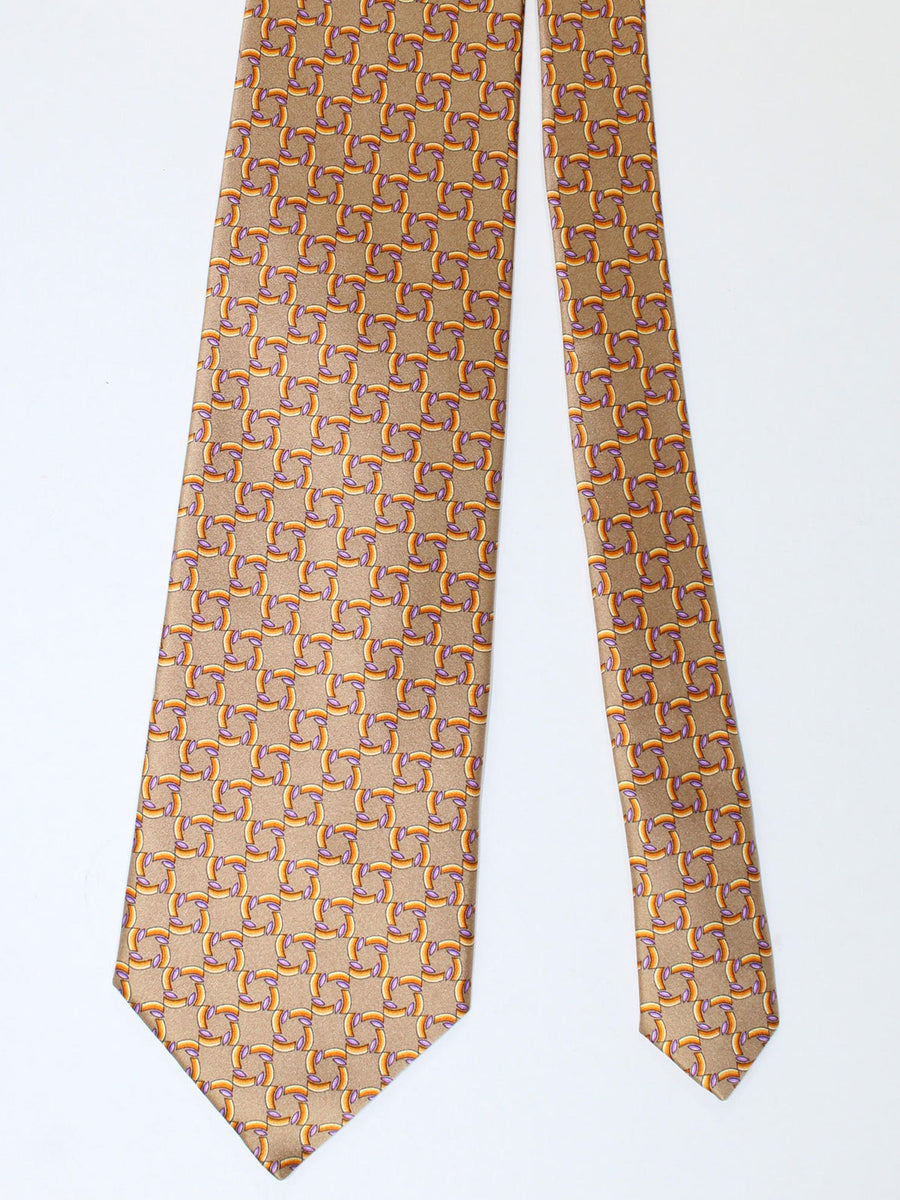 Zilli Silk Tie & Pocket Square Set Taupe Orange Purple Geometric