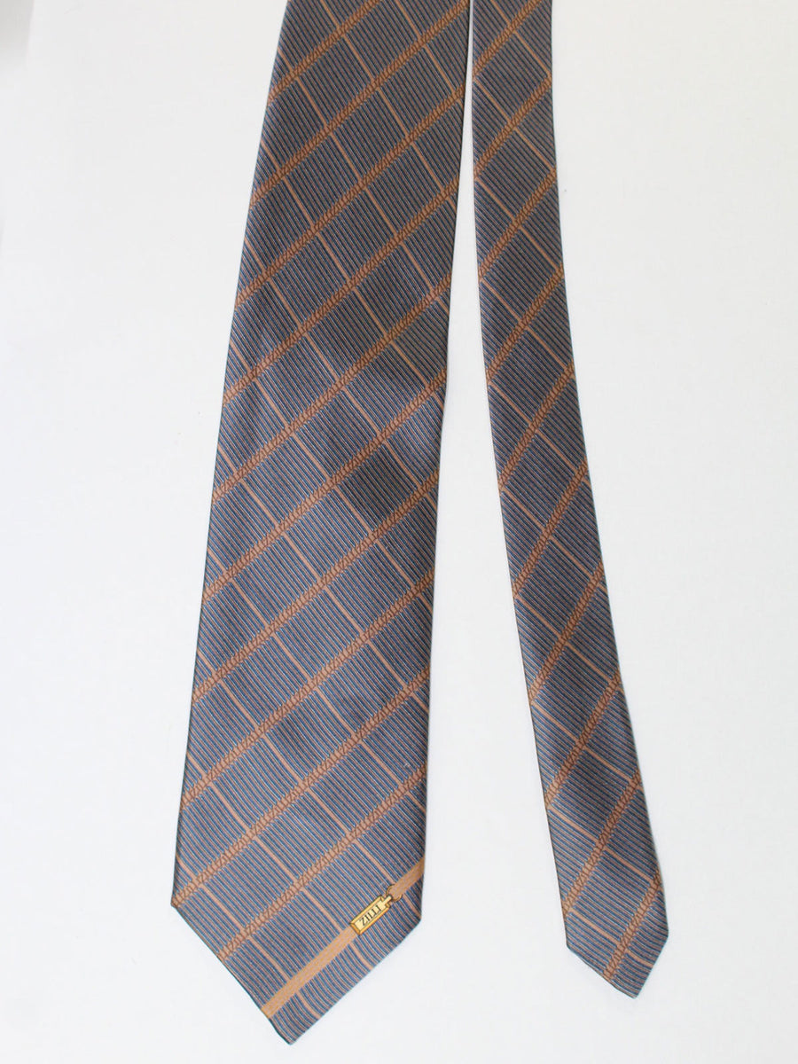 Zilli Silk Tie & Pocket Square Set Tan Midnight Blue Glen Check