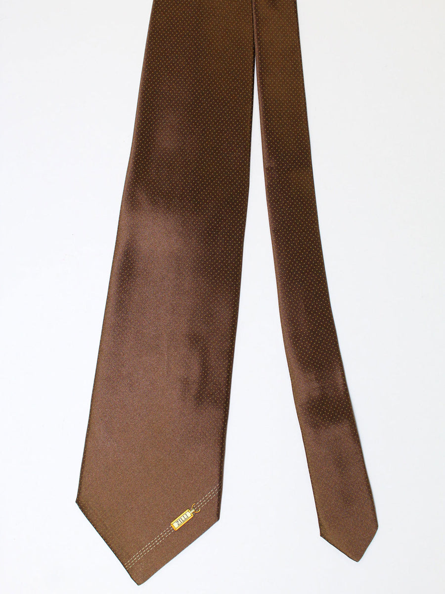 Zilli Silk Tie & Pocket Square Set Brown Dots