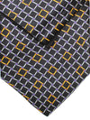 Zilli Silk Tie & Pocket Square Set Black Gold Purple Geometric