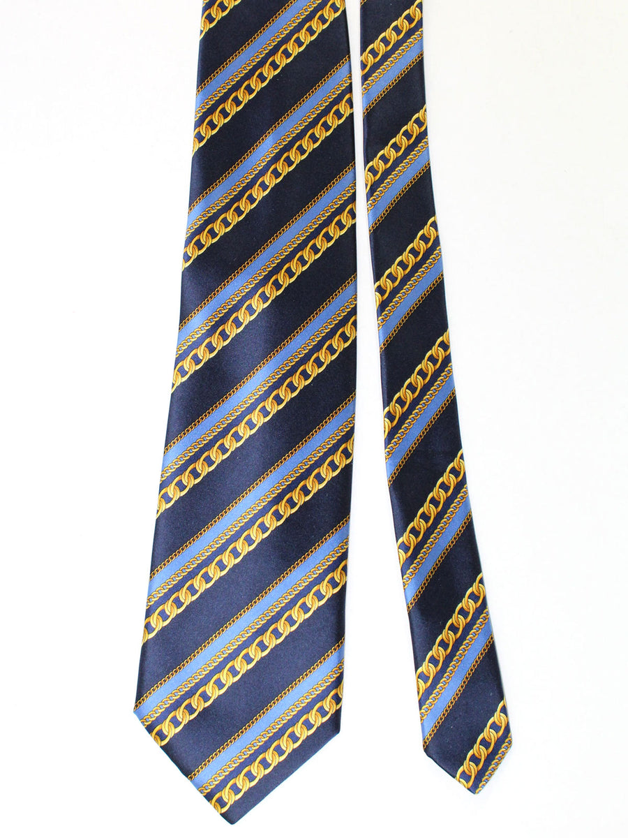 Zilli Silk Tie & Pocket Square Set Blue Gold Stripes