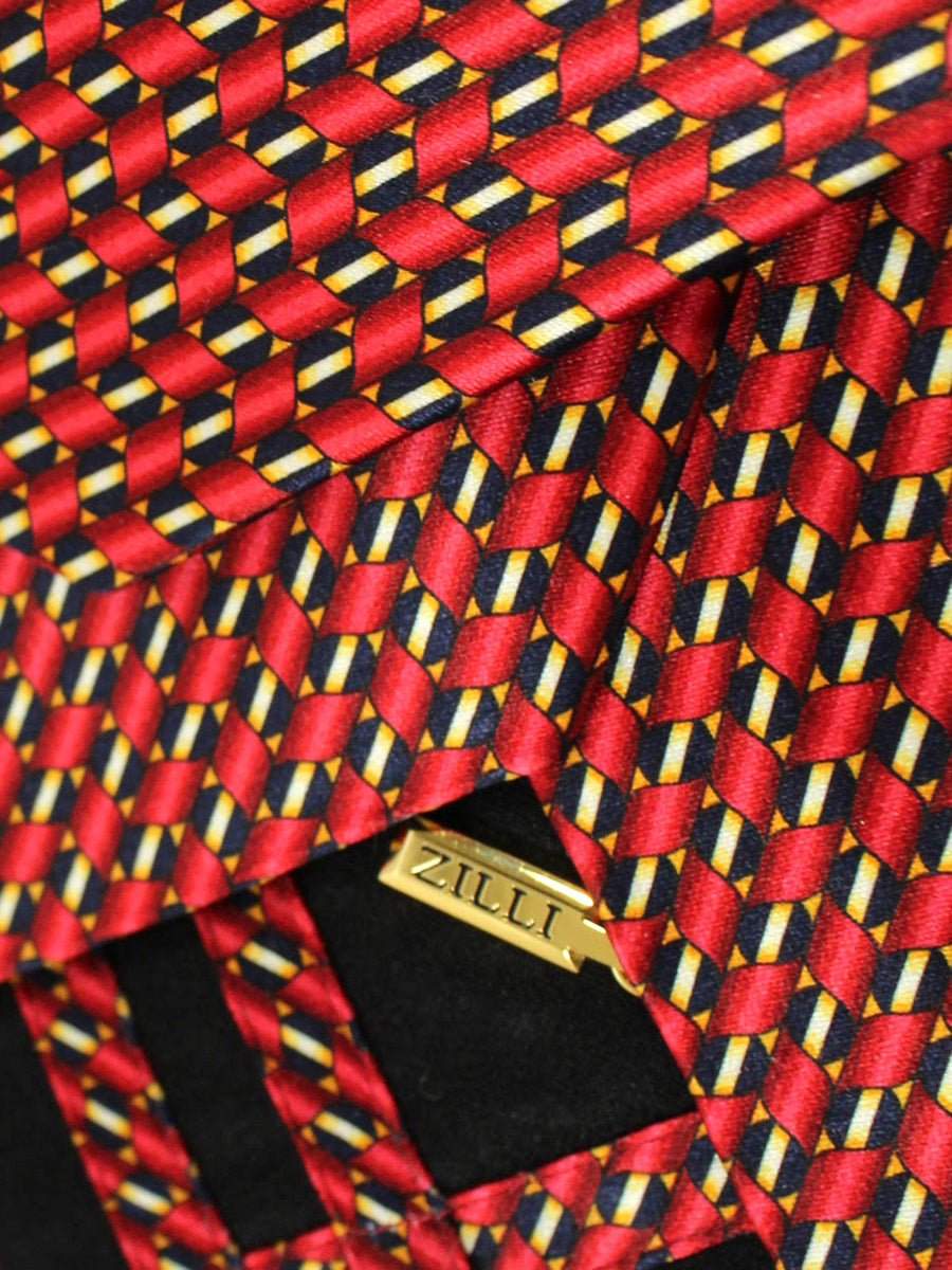 Zilli Silk Tie Black Gold Burgundy Geometric - Wide Necktie