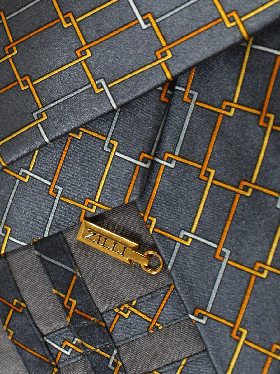 Zilli Silk Tie Gray Orange Gold Geometric - Wide Necktie