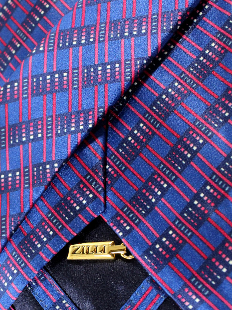 Zilli Silk Tie Royal Purple Stripes - Wide Necktie