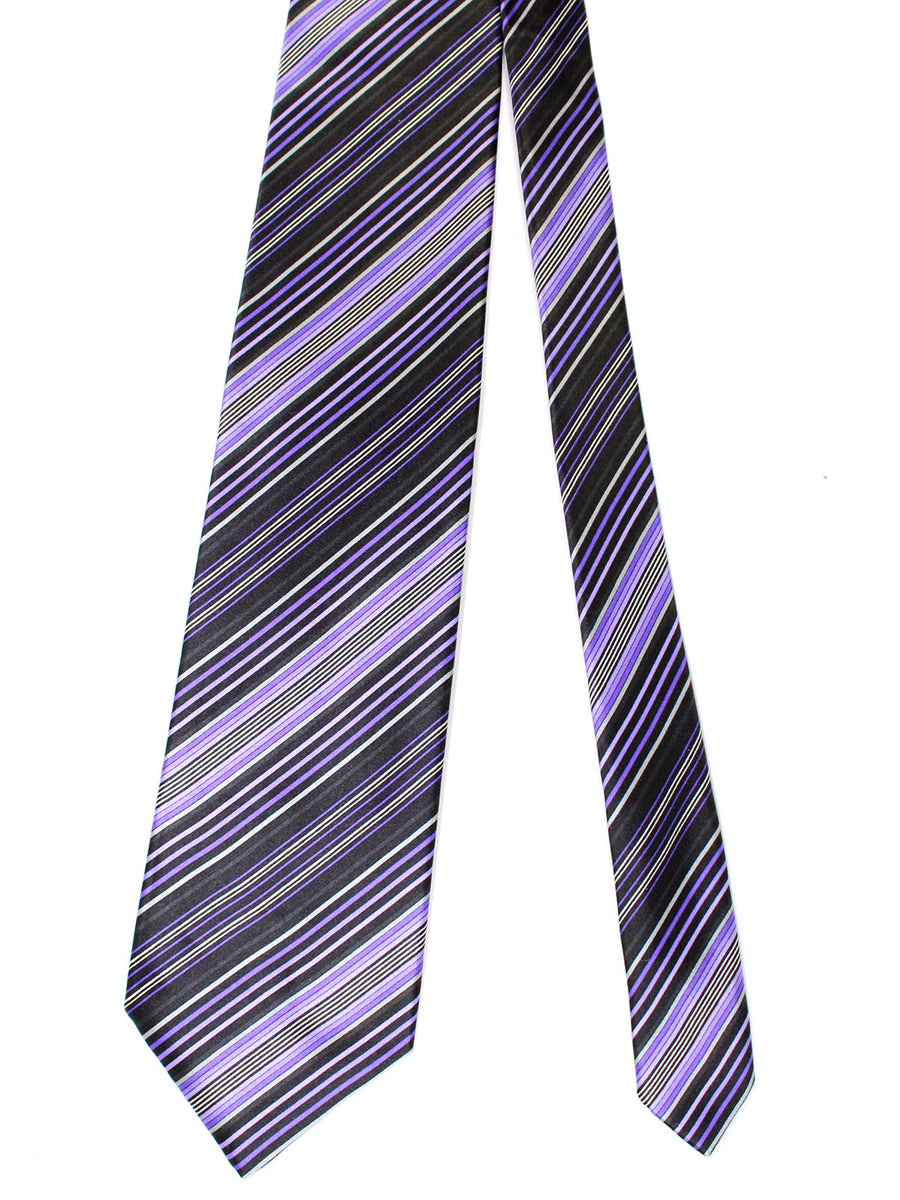 Zilli Silk Tie & Pocket Square Set Black Purple Stripes