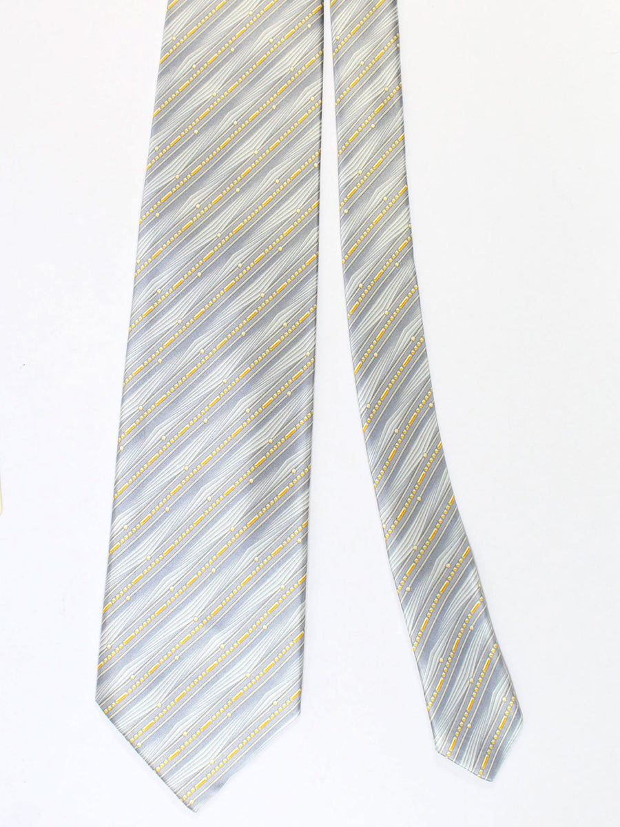 Zilli Silk Tie & Pocket Square Set Gray Orange Stripes