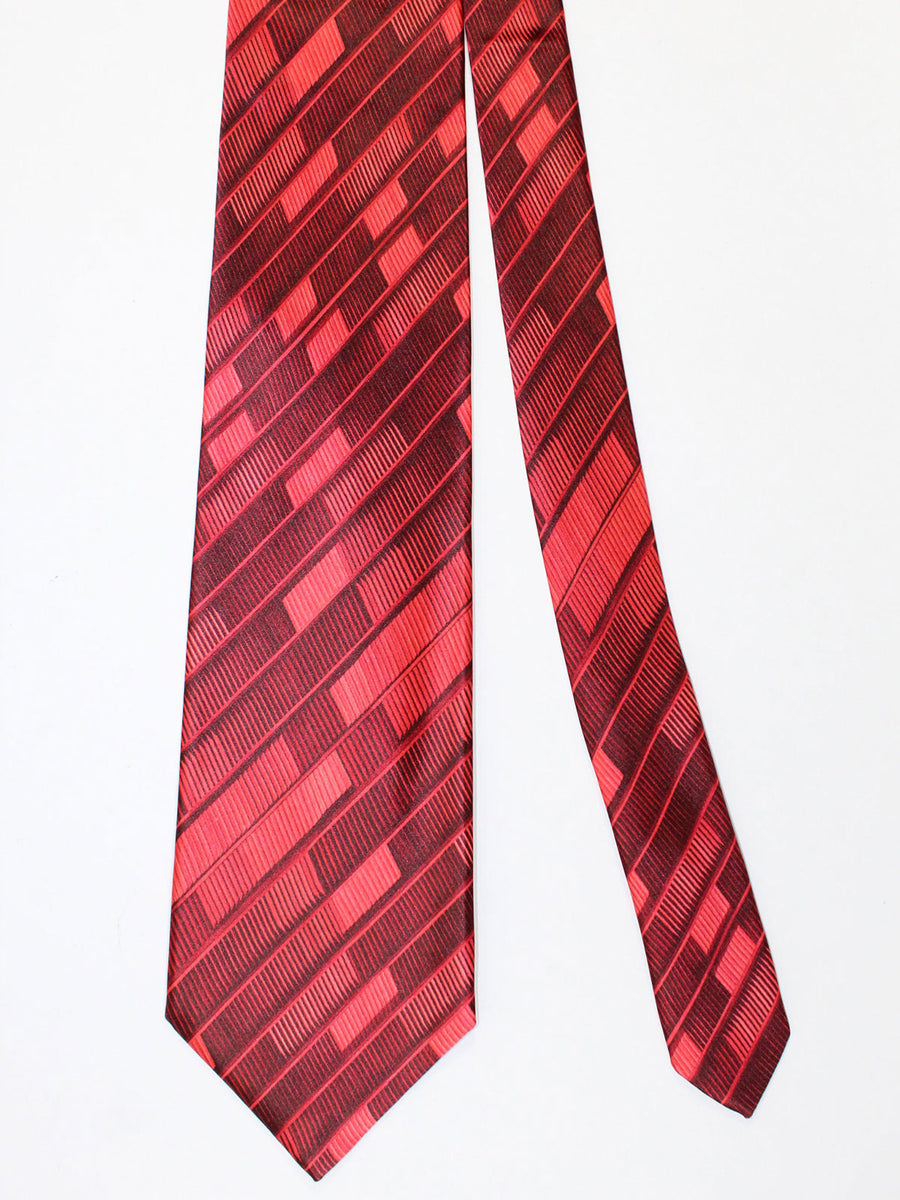 Zilli Silk Tie & Pocket Square Set Red Burgundy Stripes