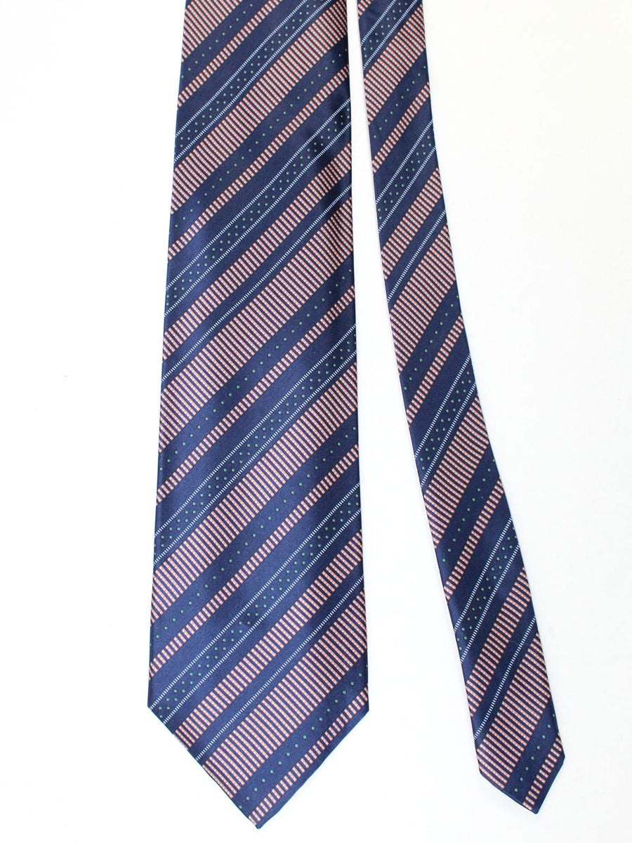 Zilli Silk Tie & Pocket Square Set Dark Blue Pink Stripes