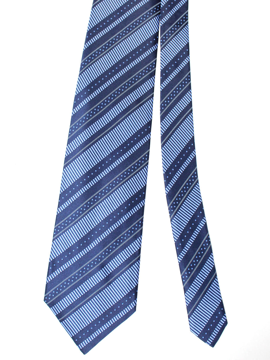 Zilli Silk Tie & Pocket Square Set Navy Blue Stripes