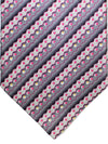 Zilli Silk Tie Gray Pink Stripes Dots - Wide Necktie