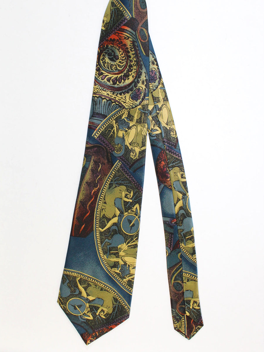 Zilli Silk Tie Mythology Design - Vintage Wide Necktie
