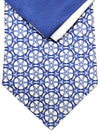 Zilli Silk Tie & Pocket Square Set White Royal Geometric