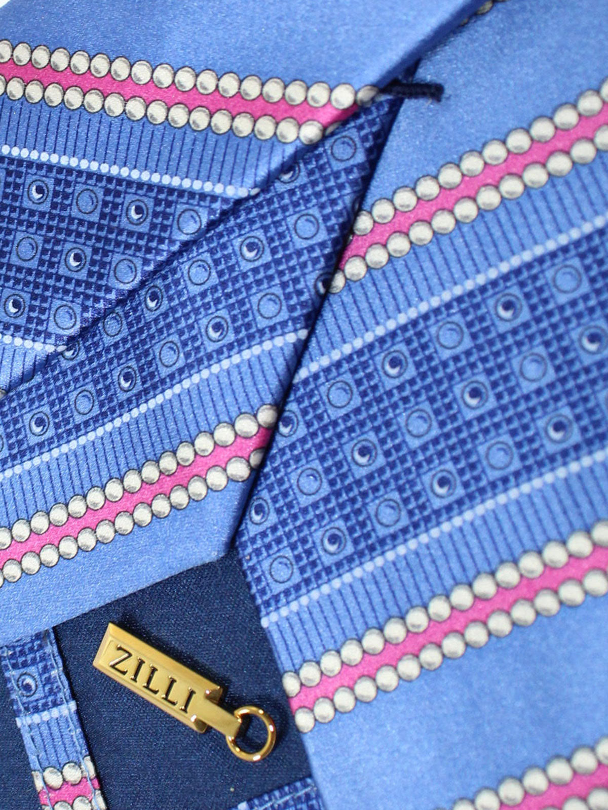 Zilli Silk Tie Blue Pink Stripes Design