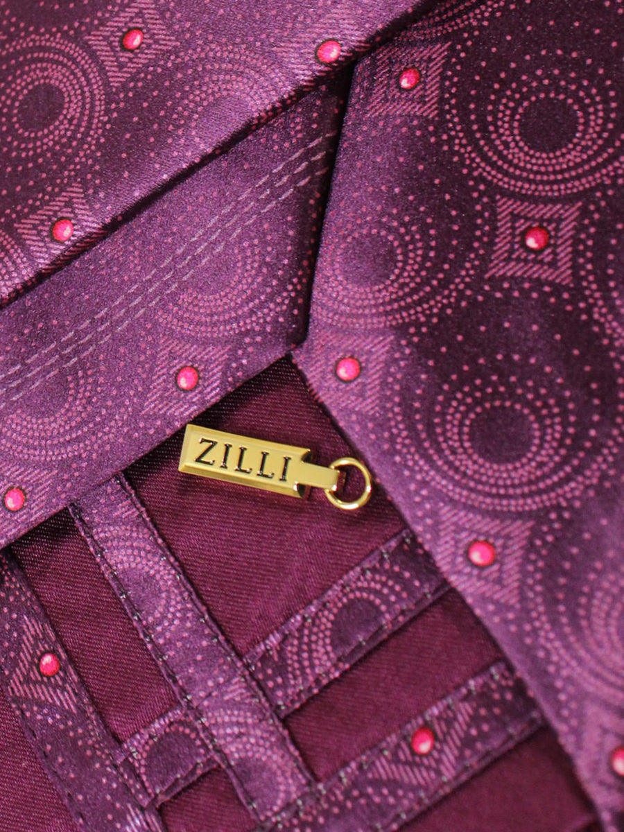 Zilli Extra Long Tie Purple Geometric