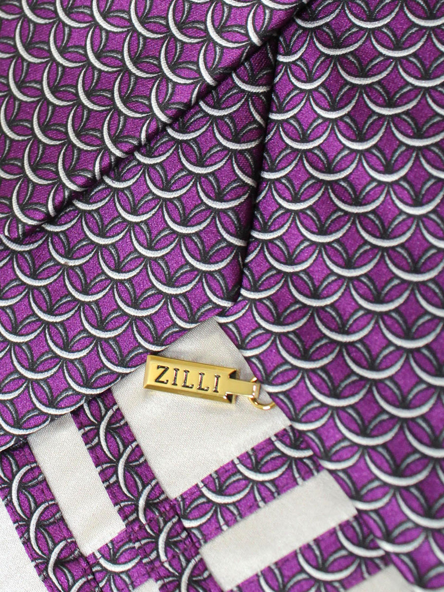 Zilli Extra Long Tie Purple Gray Geometric