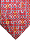 Zilli Tie Red Gray Orange Gold Geometric Design - Wide Necktie