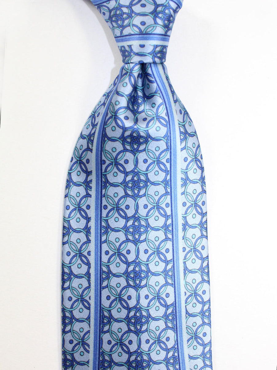 Zilli Tie Blue Gray Blue Geometric Design - Wide Necktie