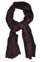 Pal Zileri Scarf Wool Silk Burgundy Black