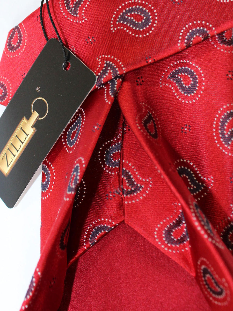 Zilli Sevenfold Tie Red Navy Paisley Design