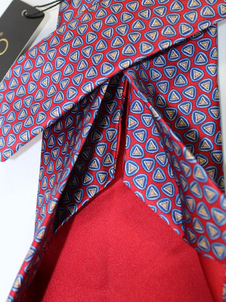 Zilli Sevenfold Tie Red Blue Navy Geometric Design