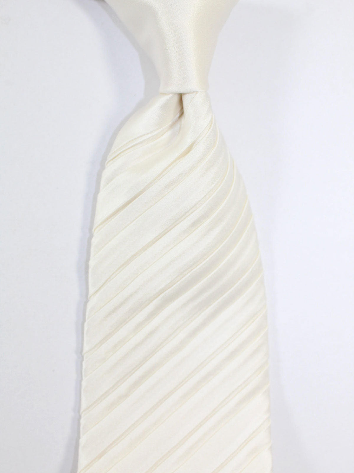 Zilli Pleated Silk Tie Solid White - Special Edition