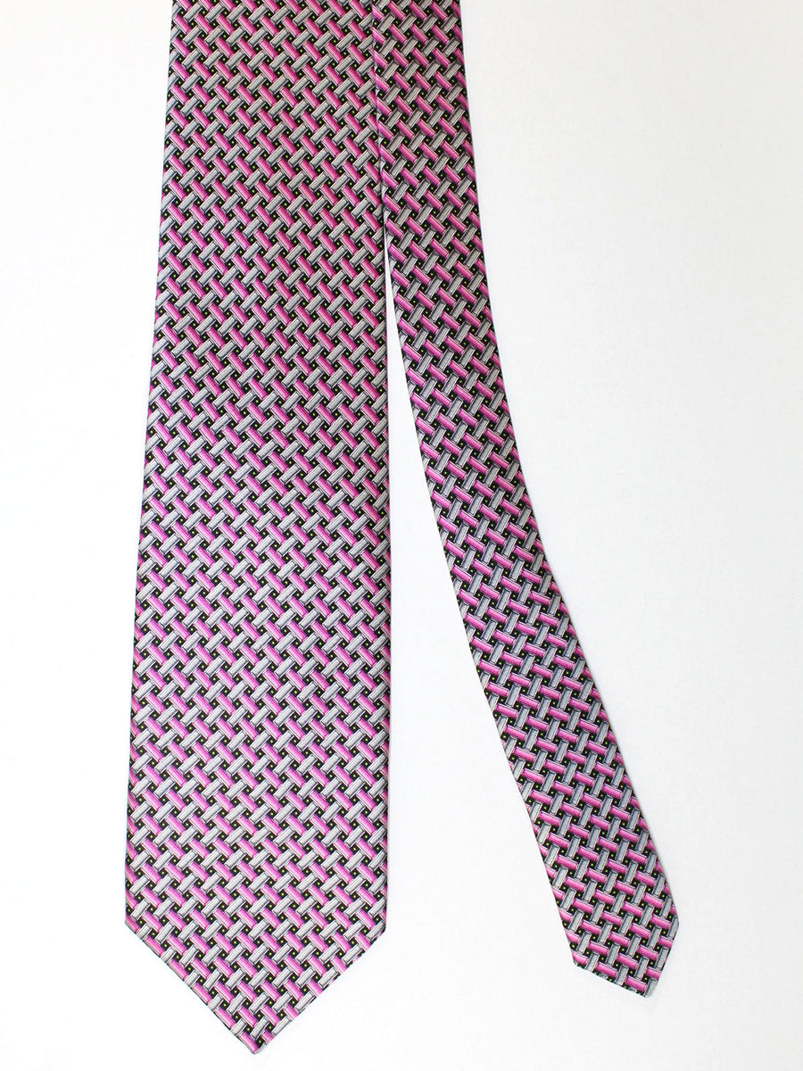 Zilli Silk Tie & Pocket Square Set Black Gray Purple Pink Geometric Design
