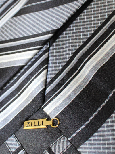 Zilli Tie Black Gray Stripes Design - Wide Necktie