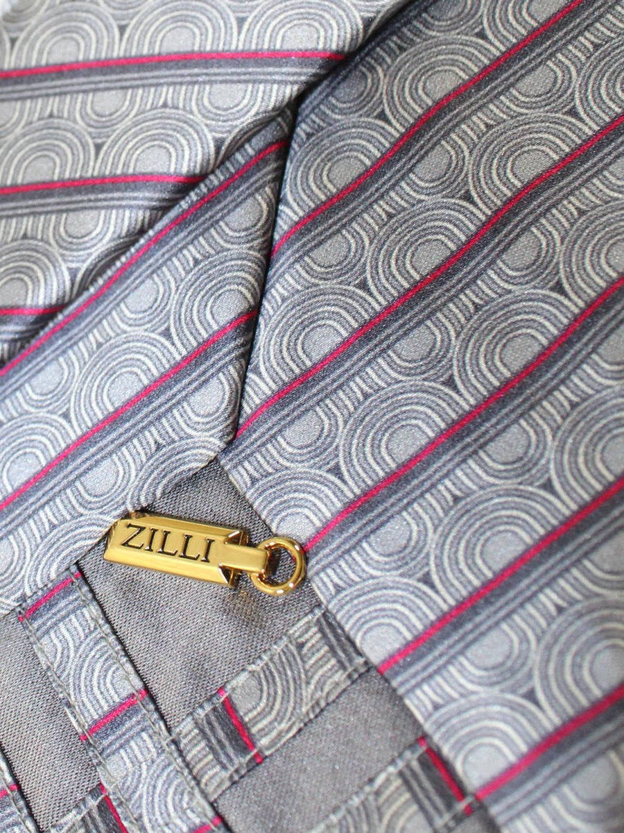Zilli Tie Gray Fuchsia Stripes Design