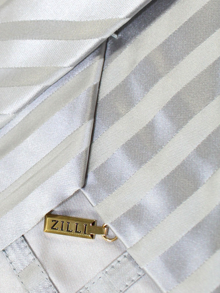 Zilli Tie Gray Silver Stripes Design - Wide Necktie