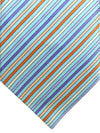 Zilli Tie Aqua Orange Purple Stripes Design - Wide Necktie