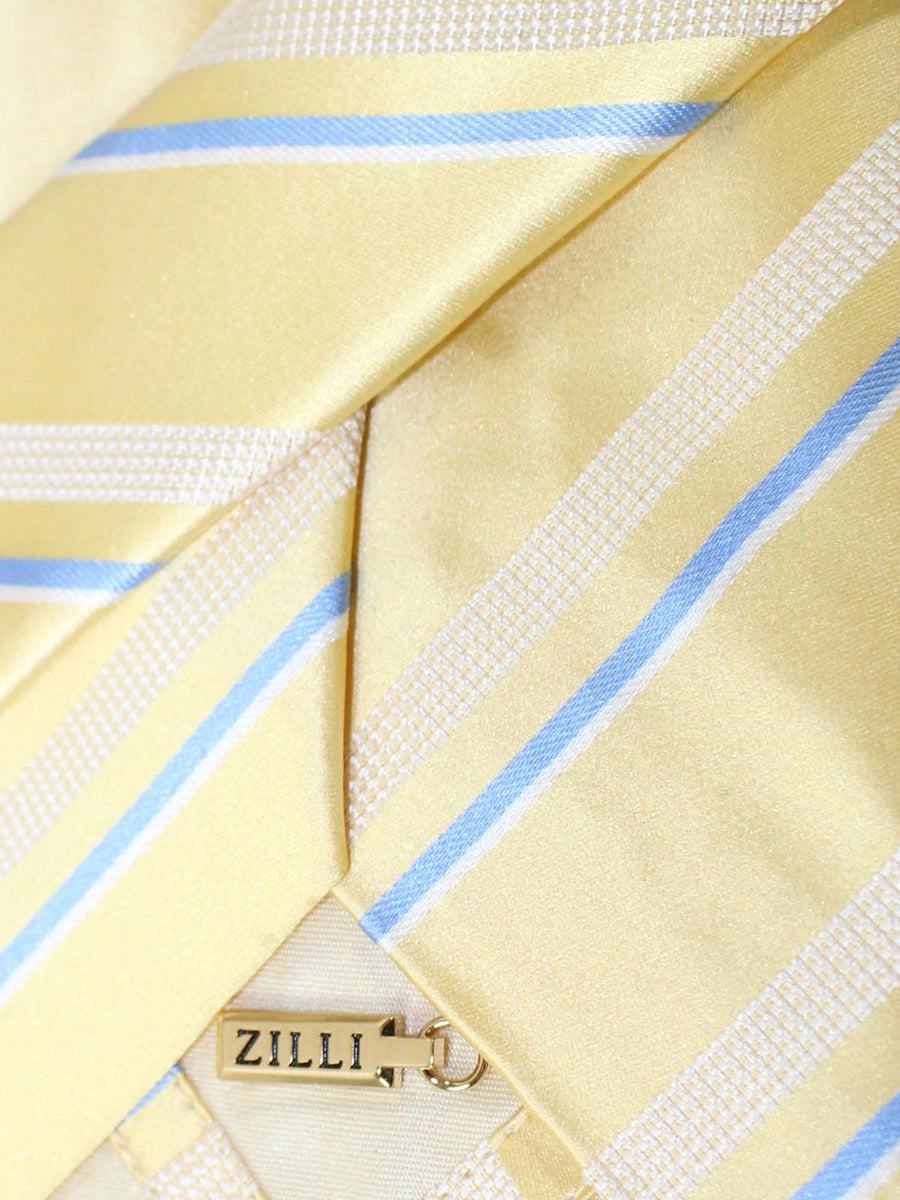 Zilli Tie Yellow Blue Stripes Design - Wide Necktie