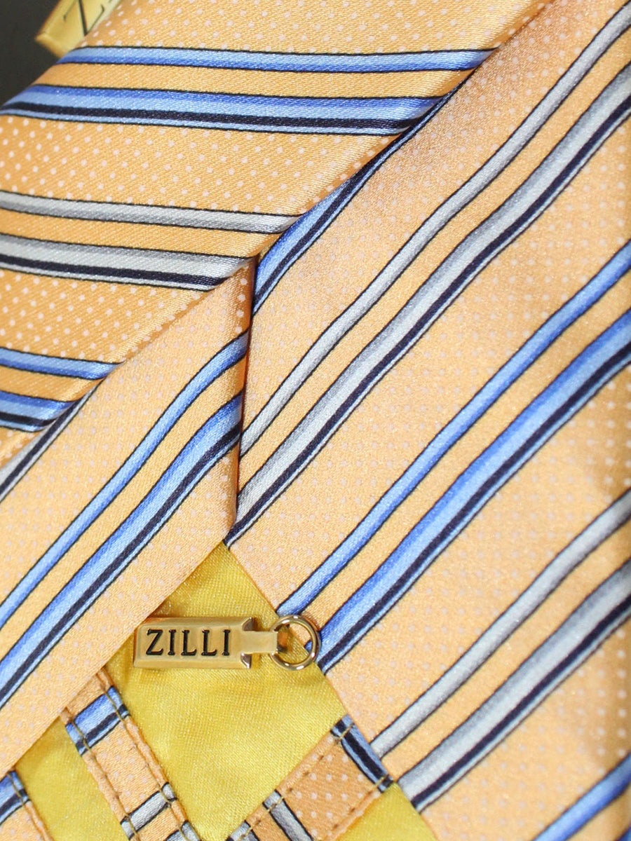 Zilli Tie Orange Cream Blue Gray Stripes Design - Wide Necktie